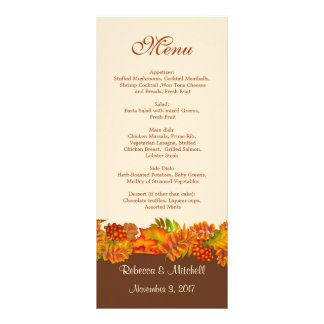 Red gold Autumn leaves Wedding Menu  Rack Card