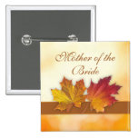 Red gold autumn leaves Wedding Pinback Button