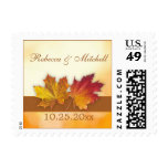 Red & gold autumn maple leaves Wedding Postage