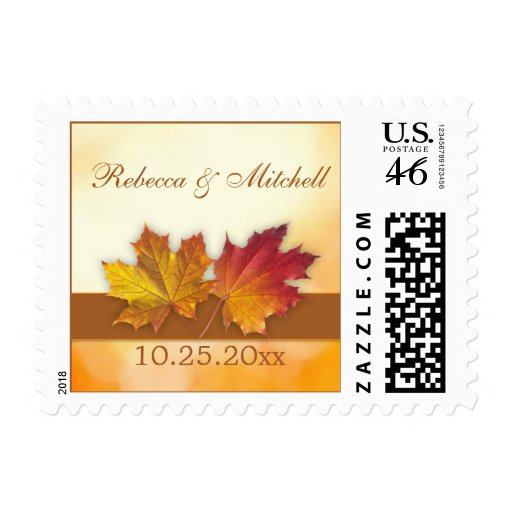 Red gold autumn maple leaves Wedding Stamps