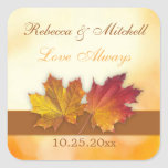 Red gold autumn maple leaves Wedding Square Stickers
