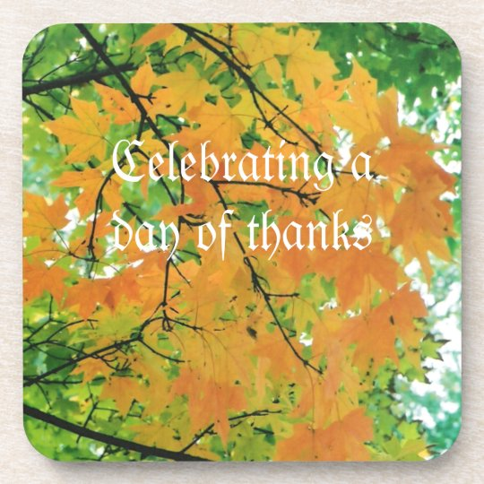 Red & Gold Autumn or Fall Leaves Color Photo Drink Coaster