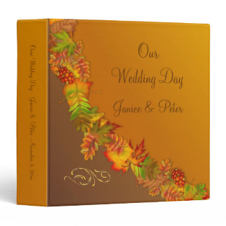 Red gold Autumnal leaves and berry Wedding Binder