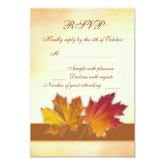 Red gold autumnal maple leaves RSVP Card