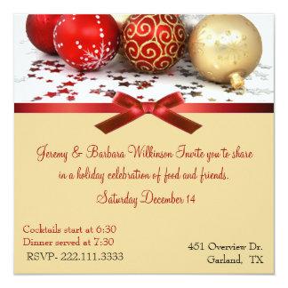 "Red & Gold Balls Christmas Party Invitation 5.25"" Square Invitation Card"