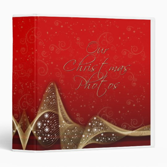 Red Gold Banner Swirl Christmas Photo Binder