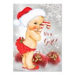 Red Gold Bauble Christmas Baby Shower Blonde Card