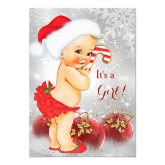 Elegant Red Gold Bauble Christmas Baby Shower Blonde Card