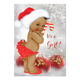 Charming Red Gold Bauble Christmas Baby Shower Ethnic Card