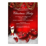 Red Gold Baubles Champagne Christmas Party Card
