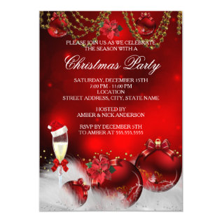 Red Gold Baubles Champagne Christmas Party Card at Zazzle