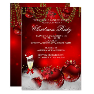 Red Gold Baubles Champagne Christmas Party Invitation