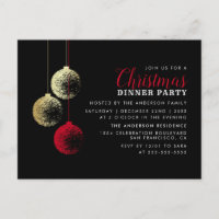 Red & Gold Baubles Elegant Christmas Dinner Party Invitation Postcard