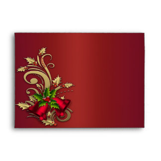 Red & Gold Bells Christmas Holiday Envelopes
