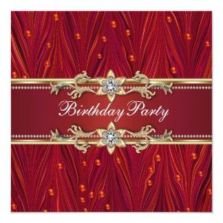 Red Gold Birthday Party Invitations