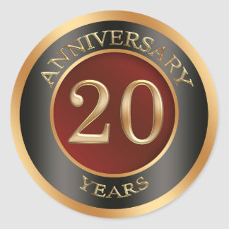 Red, gold, black 20th Wedding Anniversary Sticker Sticker