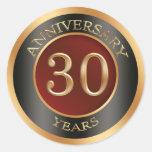 Red, gold, black 30th Wedding Anniversary Sticker Round Stickers
