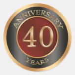 Red, gold, black 40th Wedding Anniversary Sticker