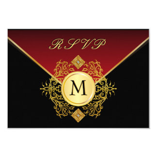 Red Gold Black Birthday Anniversary Wedding RSVP Card