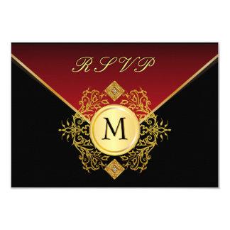 Red Gold Black Birthday Anniversary Wedding RSVP Card