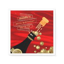 Red Gold Black Champagne Elegant Birthday Napkin