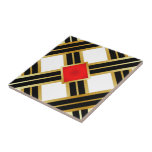 "Red Gold Black Criss Cross Pattern Ceramic Tile<br><div class=""desc"">If Gold is in your color scheme,  consider this and those similar.</div>"