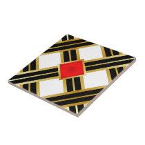 Red Gold Black Criss Cross Pattern Ceramic Tile