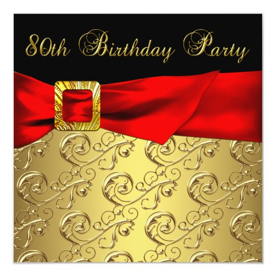 Red Gold Black Damask Womans 80th Birthday Party Card