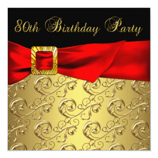 "Red Gold Black Damask Womans 80th Birthday Party 5.25"" Square Invitation Card"