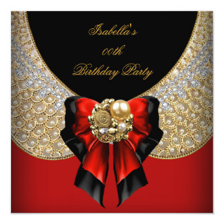 Red Gold Black Elegant Birthday Party 5.25x5.25 Square Paper Invitation Card
