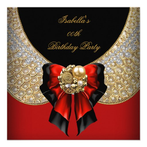 Red Gold Black Elegant Birthday Party Invitations