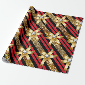Red Gold & Black Faux Glitter Gold Diamond Bows Wrapping Paper