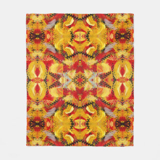 Red Gold Black Industrial Abstract Pattern Fleece Blanket