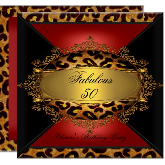 Red Gold Black Leopard Birthday Party 50th 50 2 Card