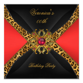 Red Gold Black Leopard Jewel Birthday Party Card