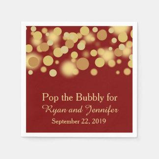 Red Gold Bokeh Personalized Wedding Napkins Paper Napkin