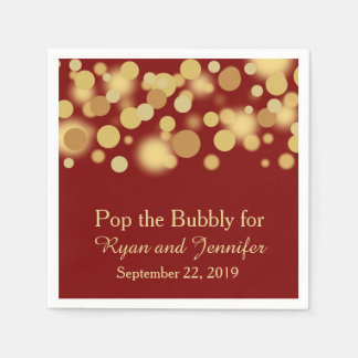 Red Gold Bokeh Personalized Wedding Napkins Standard Cocktail Napkin