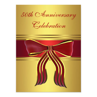 Red Gold Bow Gold 50th Wedding Anniversary Card