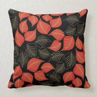 Red gold broad leaves pattern on black throwpillow