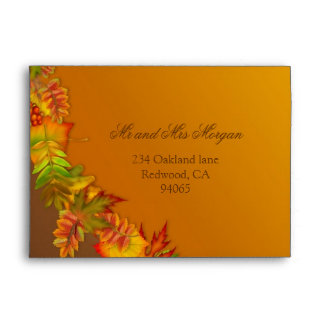 Red gold brown autumn leaves A7 Envelope