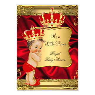 Red Gold Brunette Baby Boy Prince Baby Shower Card