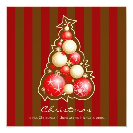 Red & Gold Bubbles Christmas Tree Card