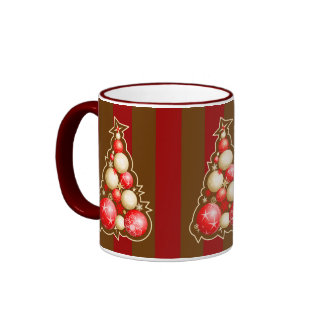 Red & Gold Bubbles Christmas Tree Ringer Coffee Mug