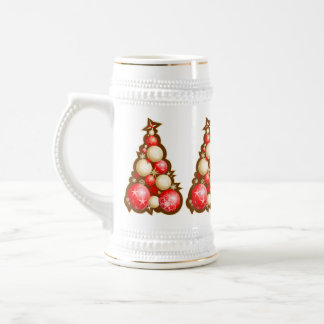 Red & Gold Bubbles Christmas Trees Beer Stein