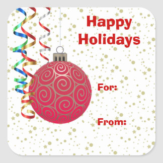 Red Gold Bulb Christmas Gift Tag Sticker