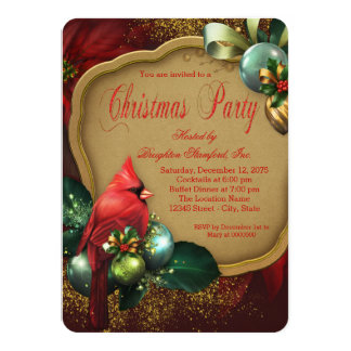 Red Gold Cardinal Corporate Christmas Party 4.5x6.25 Paper Invitation Card