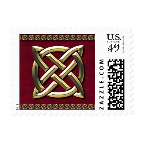 Red & Gold Celtic Knot Postage