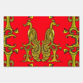 Red & Gold Celtic Ornamental Birds Yard Sign