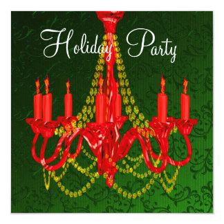 Red Gold Chandelier Green Damask Christmas Party Card