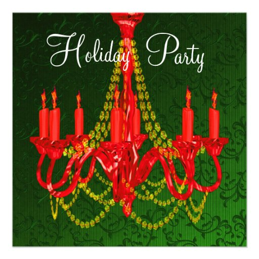 Red Gold Chandelier Green Damask Christmas Party Personalized Announcement
